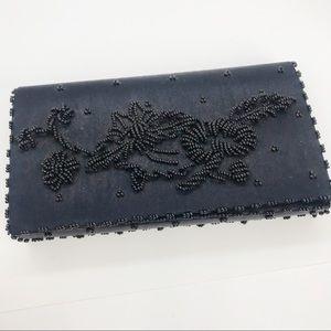 Vintage Beaded Clutch Party Purse Black Handbag
